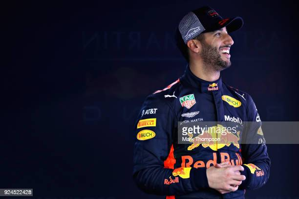 Daniel Ricciardo of Australia and Red Bull Racing looks on in the garage during day one of F1 Winter Testing at Circuit de Catalunya on February 26,...