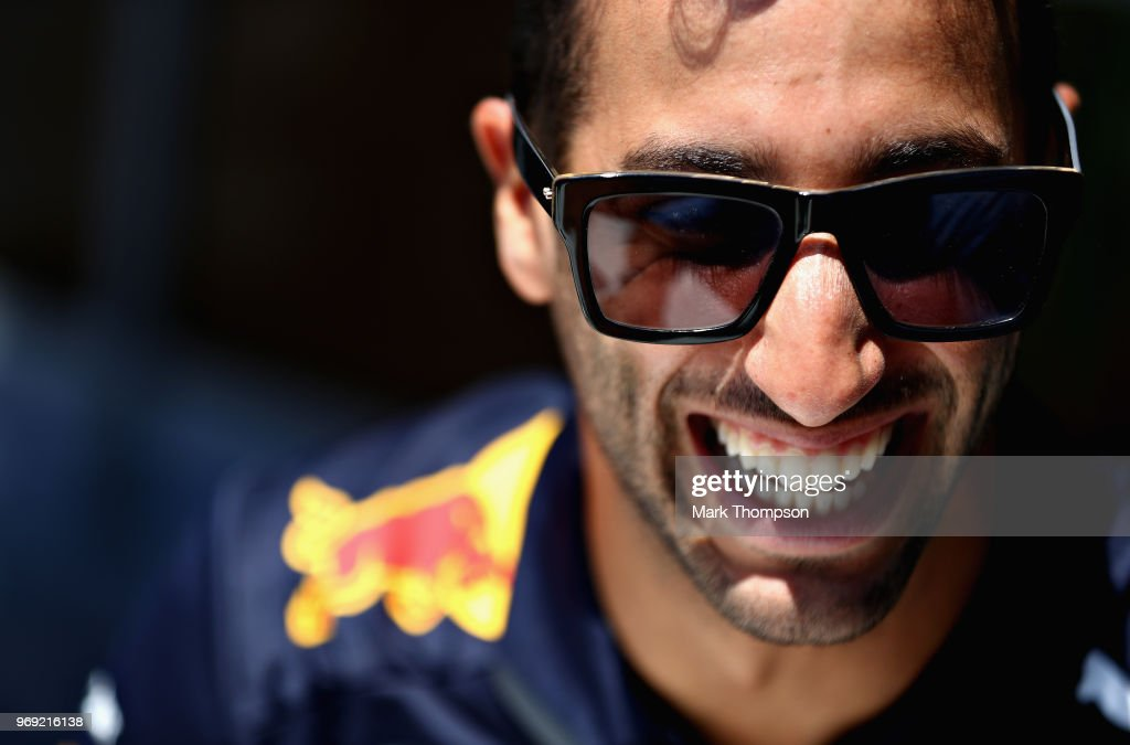 Daniel Ricciardo of Australia and Red Bull Racing looks on in the Paddock during previews ahead of the Canadian Formula One Grand Prix at Circuit Gilles Villeneuve on June 7, 2018 in Montreal, Canada.