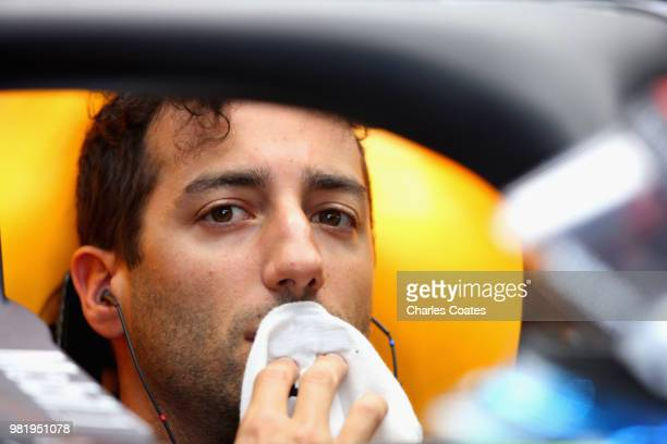 Daniel Ricciardo of Australia and Red Bull Racing looks on in the garage during final practice for the Formula One Grand Prix of France at Circuit...