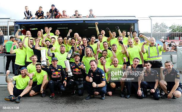 Daniel Ricciardo of Australia and Red Bull Racing Max Verstappen of Netherlands and Red Bull Racing and the Red Bull Racing team celebrate after the...