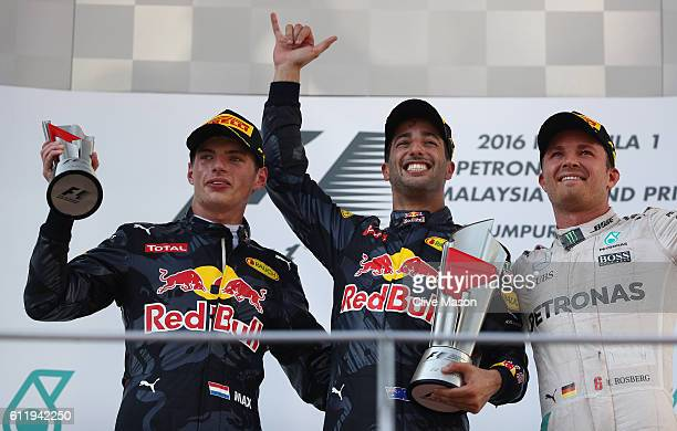 Daniel Ricciardo of Australia and Red Bull Racing Max Verstappen of Netherlands and Red Bull Racing and Nico Rosberg of Germany and Mercedes GP on...