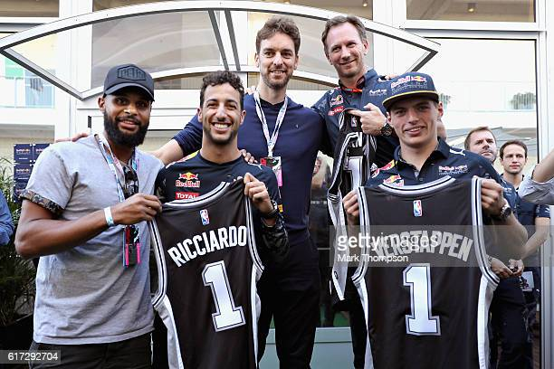 Daniel Ricciardo of Australia and Red Bull Racing Max Verstappen of Netherlands and Red Bull Racing and Red Bull Racing Team Principal Christian...