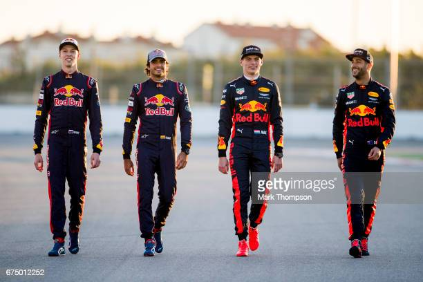 Daniel Ricciardo of Australia and Red Bull Racing Max Verstappen of Netherlands and Red Bull Racing Carlos Sainz of Spain and Scuderia Toro Rosso and...