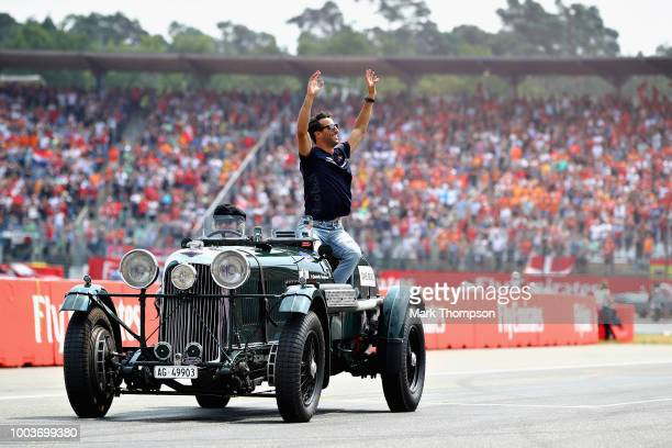 Daniel Ricciardo of Australia and Red Bull Racing on the drivers parade before the Formula One Grand Prix of Germany at Hockenheimring on July 22...