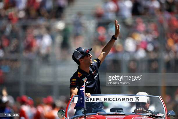 Daniel Ricciardo of Australia and Red Bull Racing on the drivers parade before the Canadian Formula One Grand Prix at Circuit Gilles Villeneuve on...
