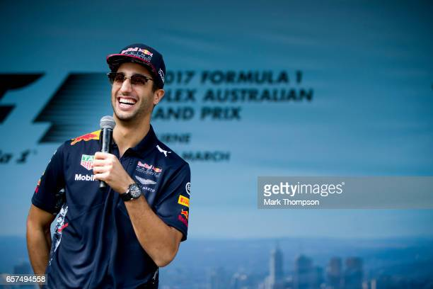 Daniel Ricciardo of Australia and Red Bull Racing on the fan stage during final practice for the Australian Formula One Grand Prix at Albert Park on...