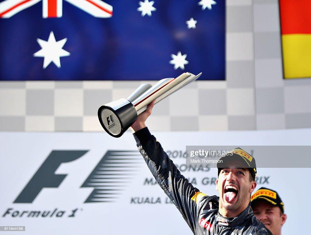Daniel Ricciardo of Australia and Red Bull Racing on the podium during the Malaysia Formula One Grand Prix at Sepang Circuit on October 2, 2016 in Kuala Lumpur, Malaysia.