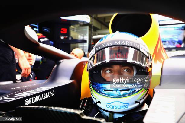 Daniel Ricciardo of Australia and Red Bull Racing prepares to drive in the garage during practice for the Formula One Grand Prix of Germany at...