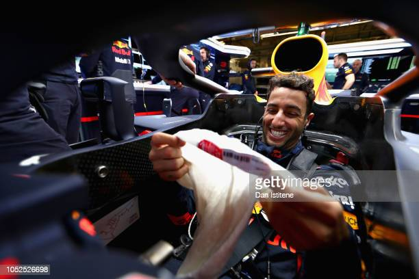 Daniel Ricciardo of Australia and Red Bull Racing prepares to drive in the garage during practice for the United States Formula One Grand Prix at...