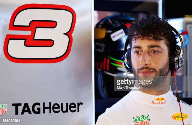 Daniel Ricciardo of Australia and Red Bull Racing prepares to drive in the garage during qualifying for the Monaco Formula One Grand Prix at Circuit...