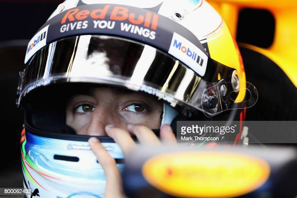 Daniel Ricciardo of Australia and Red Bull Racing prepares to drive during practice for the European Formula One Grand Prix at Baku City Circuit on...