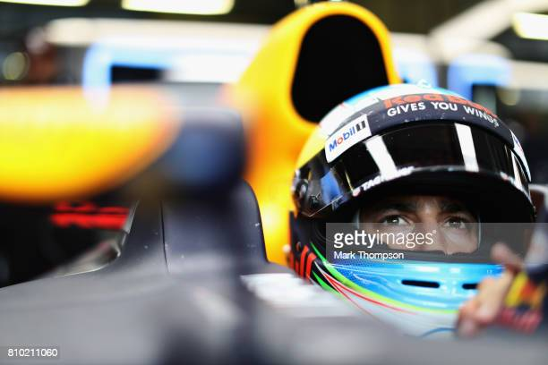 Daniel Ricciardo of Australia and Red Bull Racing prepares to drive during practice for the Formula One Grand Prix of Austria at Red Bull Ring on...