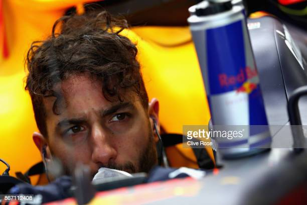 Daniel Ricciardo of Australia and Red Bull Racing prepares to drive in the garage during practice for the Formula One Grand Prix of Mexico at...