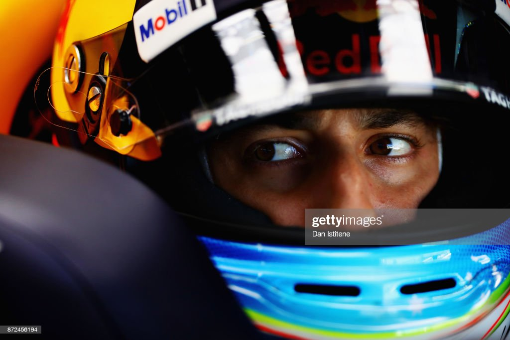 Daniel Ricciardo of Australia and Red Bull Racing prepares to drive in the garage during practice for the Formula One Grand Prix of Brazil at Autodromo Jose Carlos Pace on November 10, 2017 in Sao Paulo, Brazil.