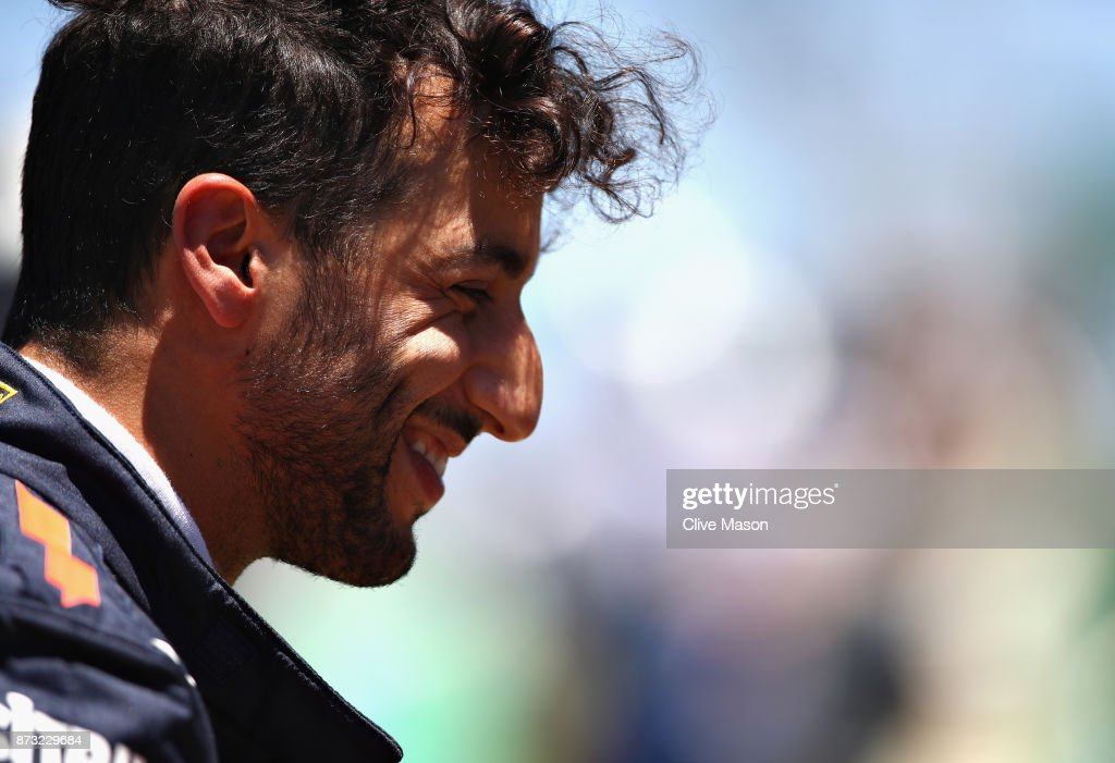Daniel Ricciardo of Australia and Red Bull Racing prepares to drive on the grid before the Formula One Grand Prix of Brazil at Autodromo Jose Carlos Pace on November 12, 2017 in Sao Paulo, Brazil.