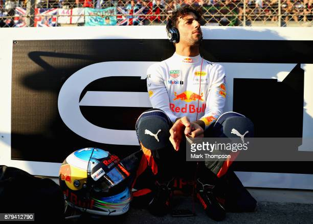 Daniel Ricciardo of Australia and Red Bull Racing prepares to drive on the grid before the Abu Dhabi Formula One Grand Prix at Yas Marina Circuit on...