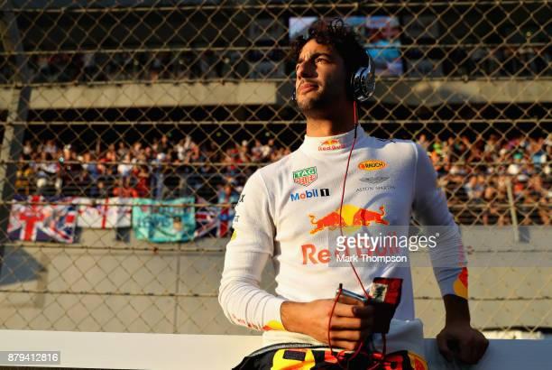 Daniel Ricciardo of Australia and Red Bull Racing prepares to drive on the grid before the Abu Dhabi Formula One Grand Prix at Yas Marina Circuit on...