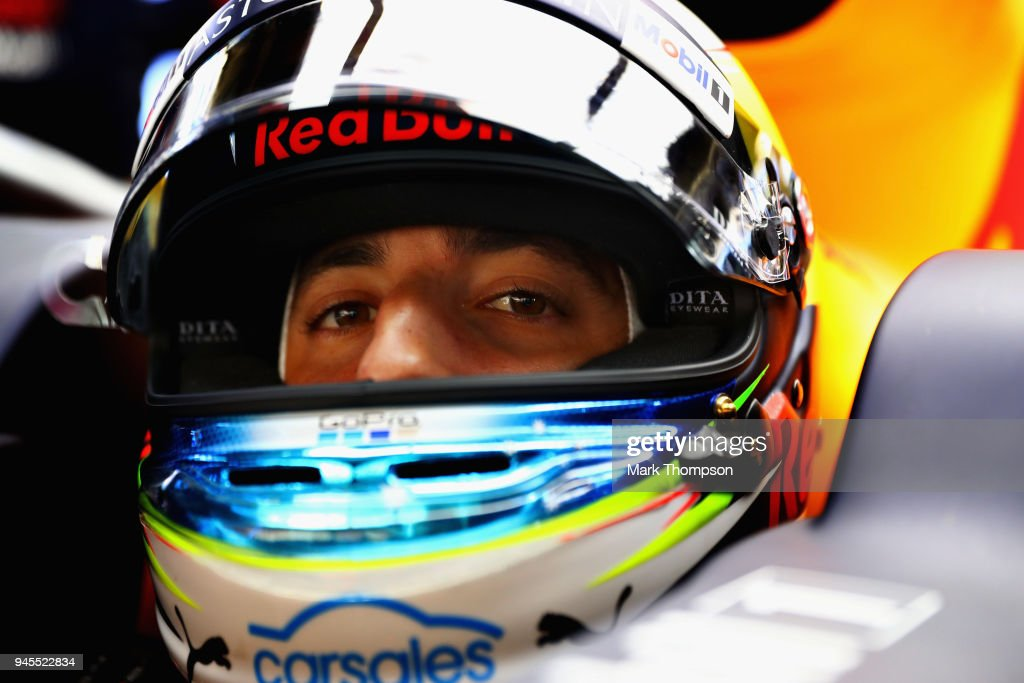 Daniel Ricciardo of Australia and Red Bull Racing prepares to drive in the garage during practice for the Formula One Grand Prix of China at Shanghai International Circuit on April 13, 2018 in Shanghai, China.