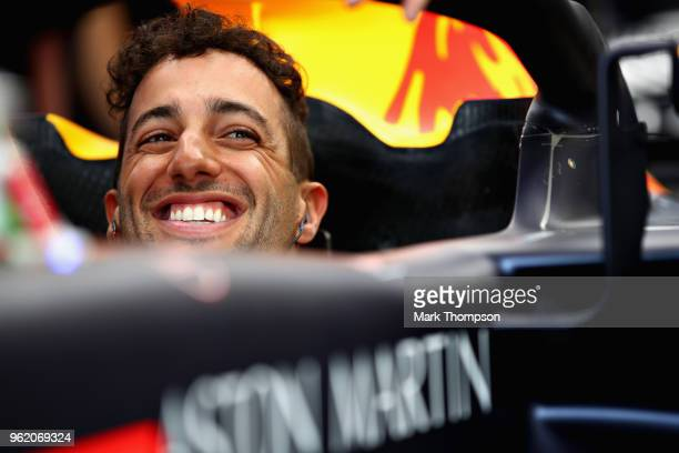 Daniel Ricciardo of Australia and Red Bull Racing prepares to drive in the garage during practice for the Monaco Formula One Grand Prix at Circuit de...
