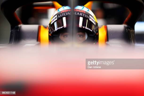 Daniel Ricciardo of Australia and Red Bull Racing prepares to drive during practice for the Formula One Grand Prix of Great Britain at Silverstone on...