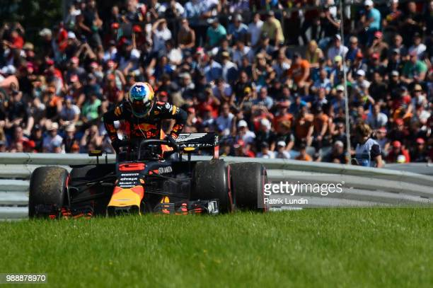 Daniel Ricciardo of Australia and Red Bull Racing retires from the race during the Formula One Grand Prix of Austria at Red Bull Ring on July 1 2018...