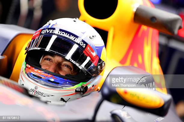 Daniel Ricciardo of Australia and Red Bull Racing sits in his car in the garage during day two of F1 winter testing at Circuit de Catalunya on...