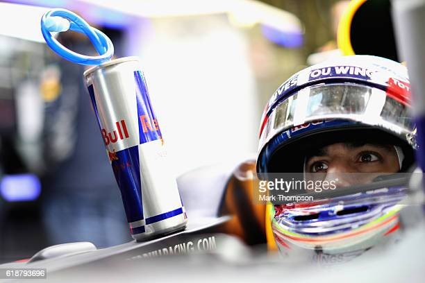 Daniel Ricciardo of Australia and Red Bull Racing sits in his car in the garage during practice for the Formula One Grand Prix of Mexico at Autodromo...