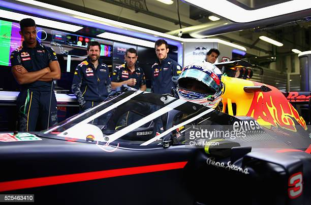 Daniel Ricciardo of Australia and Red Bull Racing sits in his Red Bull Racing Red BullTAG Heuer RB12 TAG Heuer fitted with the aeroscreen in the...