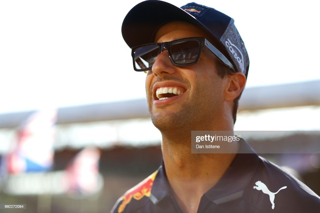 Daniel Ricciardo of Australia and Red Bull Racing smiles during previews ahead of the Formula One Grand Prix of Great Britain at Silverstone on July 5, 2018 in Northampton, England.