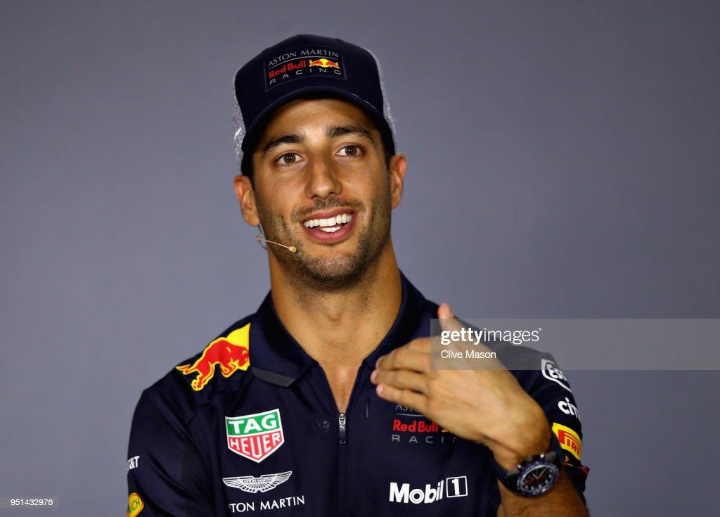 Daniel Ricciardo of Australia and Red Bull Racing talks in the Drivers Press Conference during previews ahead of the Azerbaijan Formula One Grand Prix at Baku City Circuit on April 26, 2018 in Baku, Azerbaijan.