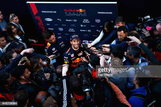 Daniel Ricciardo of Australia and Red Bull Racing talks to the media during day one of Formula One winter testing at Circuit de Catalunya on March 7...