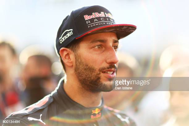 Daniel Ricciardo of Australia and Red Bull Racing talks to the media after practice for the Azerbaijan Formula One Grand Prix at Baku City Circuit on...