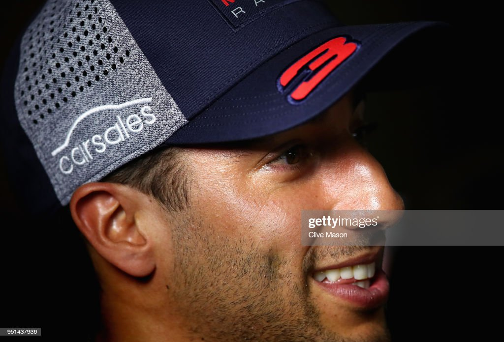 Daniel Ricciardo of Australia and Red Bull Racing talks to the media during previews ahead of the Azerbaijan Formula One Grand Prix at Baku City Circuit on April 26, 2018 in Baku, Azerbaijan.