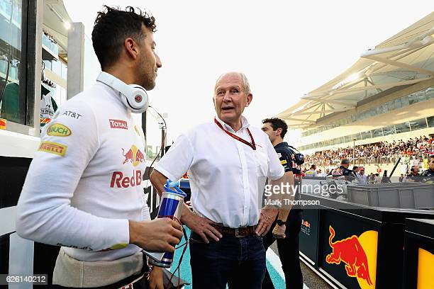 Daniel Ricciardo of Australia and Red Bull Racing talks with Red Bull Racing Team Consultant Dr Helmut Marko on the grid before the Abu Dhabi Formula...