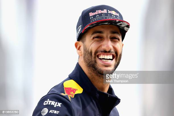 Daniel Ricciardo of Australia and Red Bull Racing walks in the Paddock during previews ahead of the Formula One Grand Prix of Great Britain at...