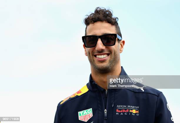 Daniel Ricciardo of Australia and Red Bull Racing walks in the Paddock during previews ahead of the Canadian Formula One Grand Prix at Circuit Gilles...
