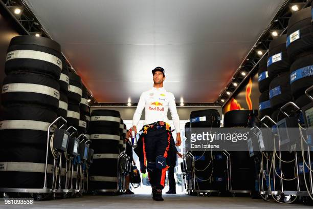 Daniel Ricciardo of Australia and Red Bull Racing walks to the garage before practice for the Formula One Grand Prix of France at Circuit Paul Ricard...