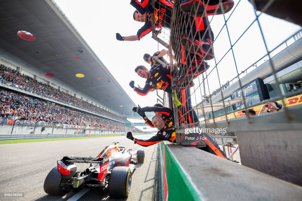 Daniel Ricciardo of Australia and Red Bull Racing wins the Formula One Grand Prix of China at Shanghai International Circuit on April 15, 2018 in Shanghai, China.