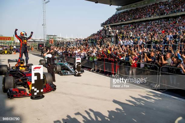 Daniel Ricciardo of Australia and Red Bull Racing wins the Formula One Grand Prix of China at Shanghai International Circuit on April 15 2018 in...
