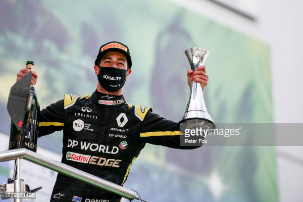 Daniel Ricciardo of Australia and Renault celebrates 3rd place during the F1 Eifel Grand Prix at Nuerburgring on October 11, 2020 in Nuerburg,...