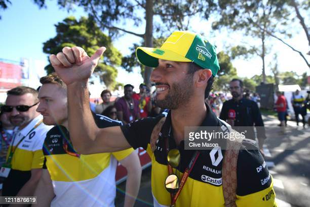 Daniel Ricciardo of Australia and Renault Sport F1 acknowledges fans as he arrives at the track during previews ahead of the F1 Grand Prix of...