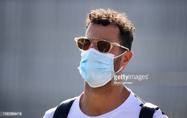 Daniel Ricciardo of Australia and Renault Sport F1 arrives at the circuit before practice for the F1 Grand Prix of Great Britain at Silverstone on...
