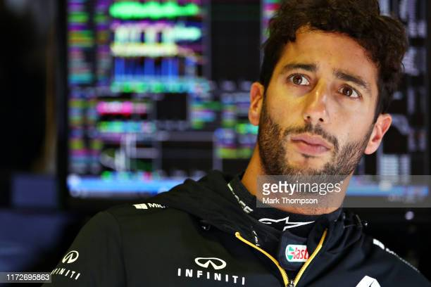 Daniel Ricciardo of Australia and Renault Sport F1 looks on in the garage during practice for the F1 Grand Prix of Italy at Autodromo di Monza on...