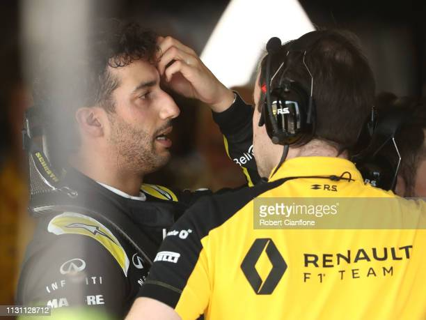 Daniel Ricciardo of Australia and Renault Sport F1 reacts after retiring from the F1 Grand Prix of Australia at Melbourne Grand Prix Circuit on March...