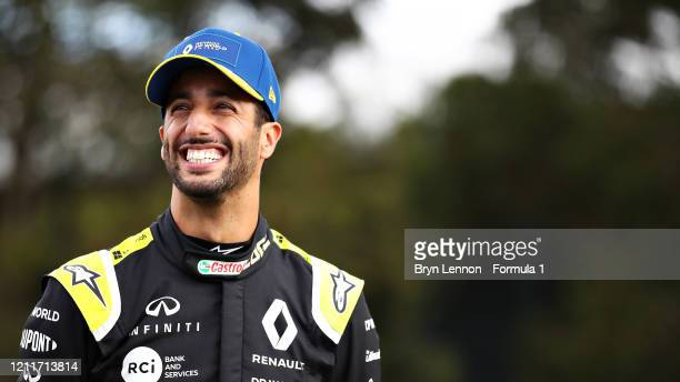 Daniel Ricciardo of Australia and Renault Sport F1 smiles at the livery launch of the Renault Sport Formula One Team RS20 during previews ahead of...