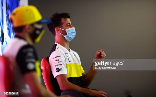Daniel Ricciardo of Australia and Renault Sport F1 talks in the Drivers Press Conference during previews ahead of the F1 Grand Prix of Great Britain...