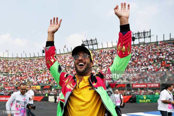 Daniel Ricciardo of Australia and Renault Sport F1 waves to the crowd on the drivers parade before the F1 Grand Prix of Mexico at Autodromo Hermanos...