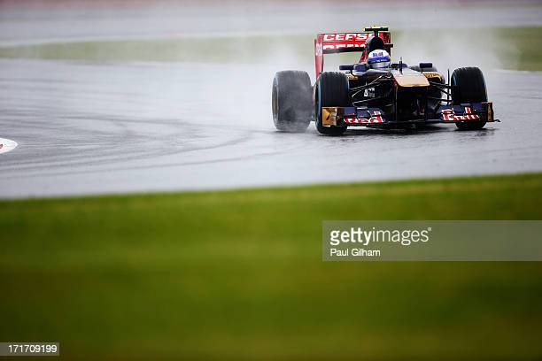 Daniel Ricciardo of Australia and Scuderia Toro Rosso drives during practice for the British Formula One Grand Prix at Silverstone Circuit on June 28...