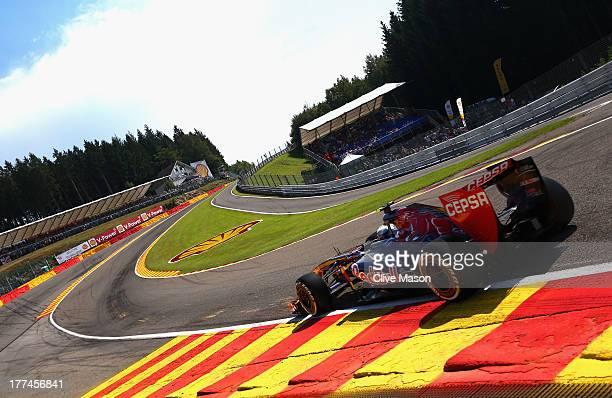 Daniel Ricciardo of Australia and Scuderia Toro Rosso drives thru Eau Rouge during practice for the Belgian Grand Prix at Circuit de SpaFrancorchamps...