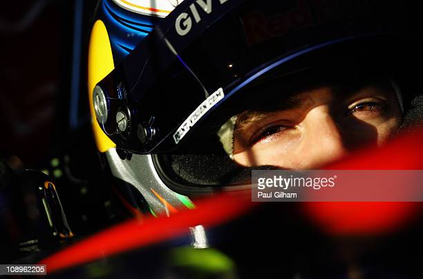 Daniel Ricciardo of Australia and Scuderia Toro Rosso looks on from his cock pit during day one of winter testing at the Circuito de Jerez on...